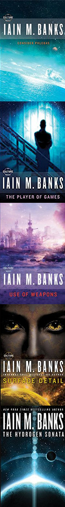 Covers of the five books in the Culture Series written by Iain M. Banks and narrrated by Peter Kenny