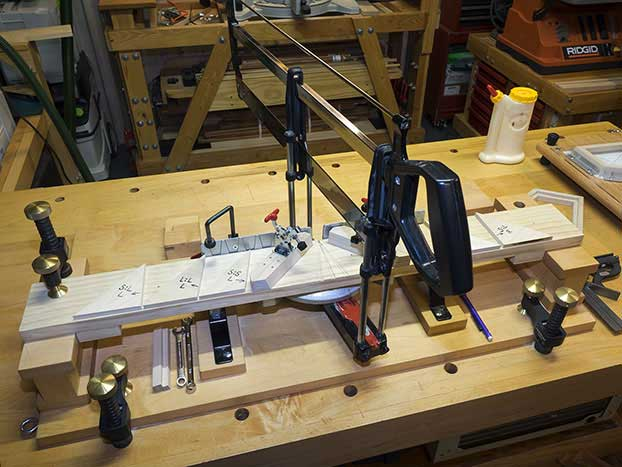 Nobex miter saw with a custom miter cutting jig