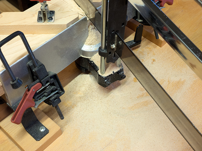 Miter handsaw with lots of sawdust