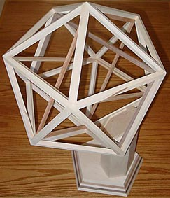 Icosahedron frame with golden rectangles inside
