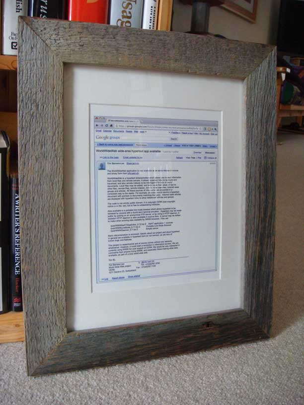 Old barn wood frame for WorldWideWeb announcement