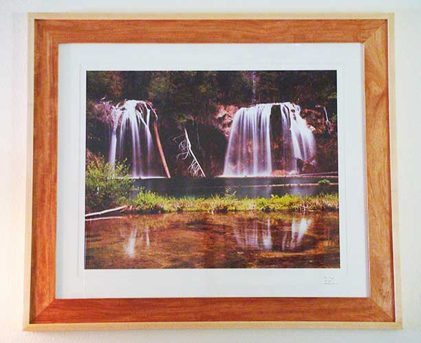 Mahogany and maple picture frame, featuring Hanging Lake by Brian Brewington