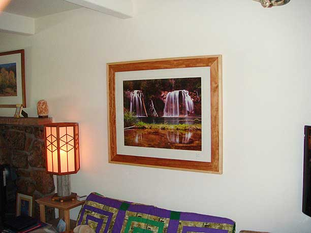 Mahogany and maple picture frame in our living room
