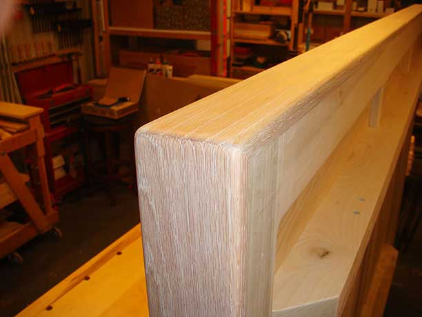 Closeup of the oak edging