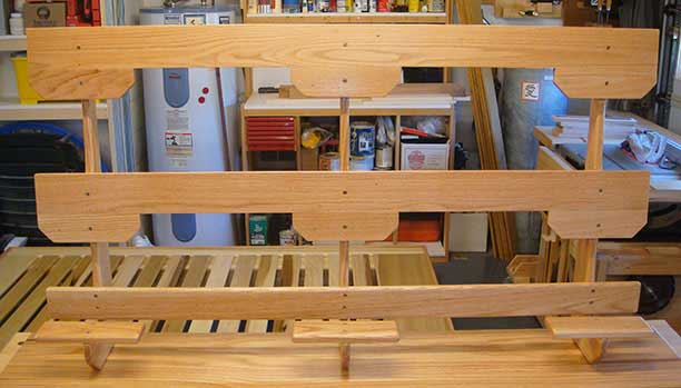 The headboard frame, showing how it attaches to the platform